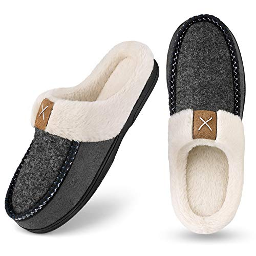 Homitem Men's Cozy Memory Foam Slippers,Fuzzy Wool-Like Plush Fleece Lined House Shoes w/Indoor Outdoor Anti-Skid Rubber Sole(Size 11-12,Grey)