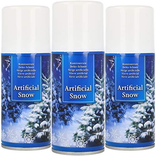 com-four® 3X Kunstschnee - Spraydose mit Dekoschnee - Schneespray zum Dekorieren zu Weihnachten (03 Stück - 150ml/Schnee)