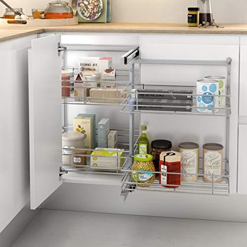 Casaenorden - Baldas extraíbles de Rejilla para Armario esquinero de Cocina - Almacenaje para Muebles rinconeros de Cocina, Ancho Puerta mínimo 300 mm
