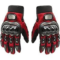 Guantes cortos de piel para motocicleta, Pro Biker, para deportes de carreras, color rojo, tamaño Large