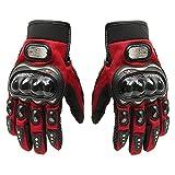 Pro-Biker, guanti corti sportivi in pelle, da bici e da moto, guanti da corsa, Red, M