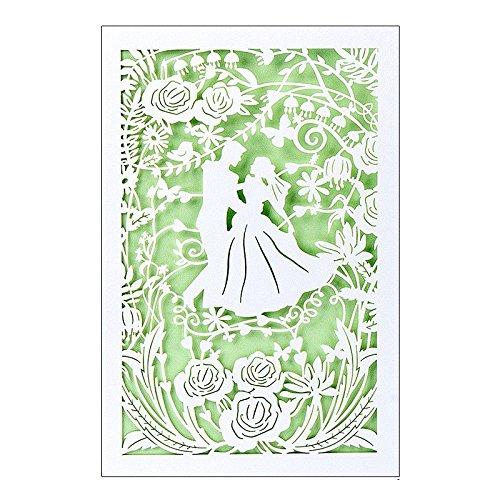 Hochzeitskarte | 12 cm x 18 cm | Mit farbigem Einleger & Umschlag | Grußkarte für Hochzeit | Glückwunsch-Karte | Motiv: Brautpaar, Vermählung, Tanzendes Paar (Design 1)