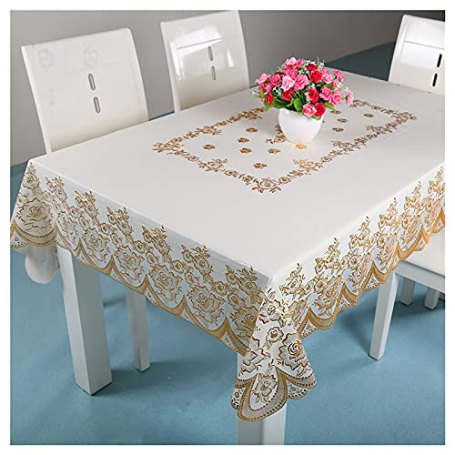 Tablecloths, multi-flower waterproof tablecloths, bronzing PVC oil-proof tablecloths, rectangular tablecloths Simple and elegant tablecloth (Size:135X180cm,Color:B)