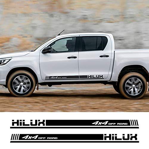 ZYHZJC 2PCS Racing Decals Autotür Seitenstreifen Aufkleber Vinyl Film Decals Zubehör für Toyota Hilux 4x4 Off Road