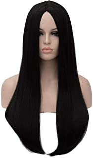 Bopocoko Cher Costume Wig for Wednesday Addams Morticia Wig Long Black Wigs for Women 27'' Witch Cosplay Wigs Straight Hair Wigs Halloween Wig for Girls with Wig Cap BU157BK