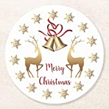 Posavasos para bebidas, base de corcho, copos de nieve dorados, renos, campanas de Navidad, juego de 4 posavasos redondos para el hogar y la cocina, divertido regalo para el hogar, regalos de Navidad