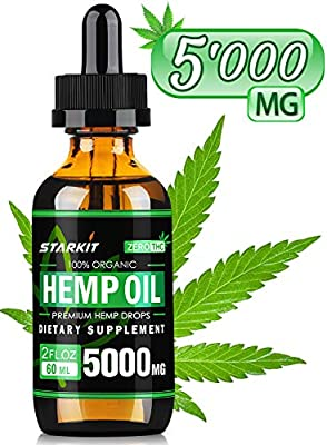 Hemp Oil Extract Drops, 5000mg Natural for Pain Anxiety & Stress Relief, Better Sleep, Mood Support, STARKIT 60ml Rich in Fatty Acids Omega 3 6 9 from Organic Hemp Seed