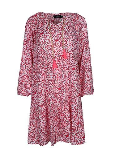 Zwillingsherz Sommerkleid im Paisley Design – Hochwertiges Abendkleid für Damen Frauen Mädchen - Freizeitkleid Cocktailkleid Strandkleid - Locker luftig – Perfekt für Frühling Sommer Herbst - pink