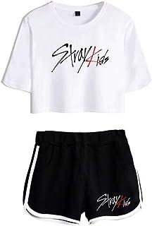 FEIRAN Stray Kids Boy Band Short Shorts de Manga Corta para Mujer y niña Top + Shhort Set A White + Black XS