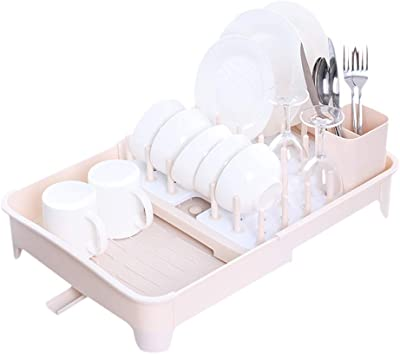 Baffect Expandable Dish Drying Rack for Counter with Drainage Over the Sink Dish Drainer With Removable Cutlery Holder Detachable Bowl Cup Holder (Beige)