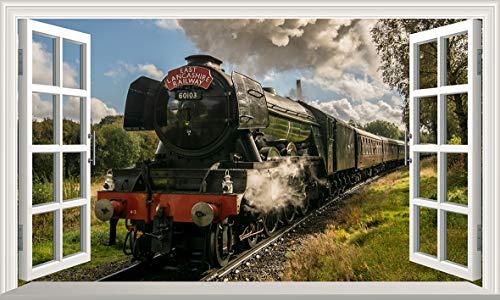 Chicbanners The Flying Scotsman Steam Train 3D V006 Magic Window Wall Sticker Selbstklebendes Poster Größe 1000 mm breit x 600 mm tief (groß)