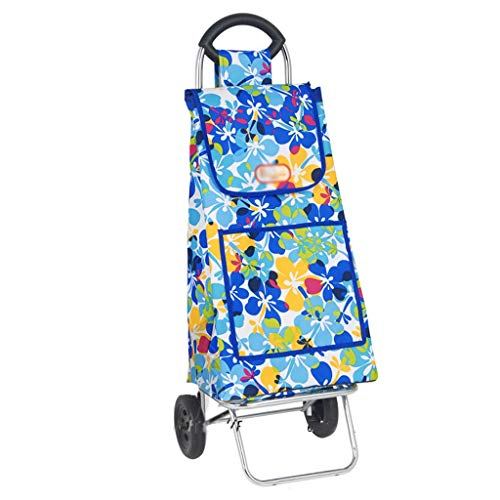 Hyzb Lightweight Shopping Trolley 2 Wheel Foldable Small Trailer, Blue Large Capacity Waterproof Storage Outdoor Travel Luggage Cart
