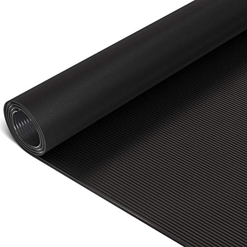 ANRO Gummimatte Schutzmatte Meterware Bodenmatte Feinriefen Gummiläufer 100cm Breit 3mm stark Schwarz 70 x 100cm