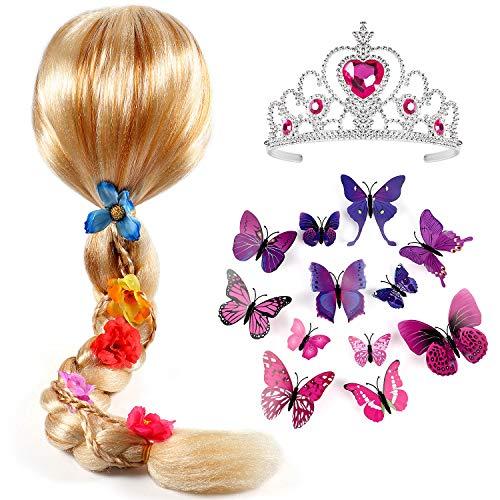 Tacobear Principessa Parrucca Treccia con Principessa Diadema e Farfalla Spilla Principessa Sofia Vestito Accessori per Bambini Ragazza