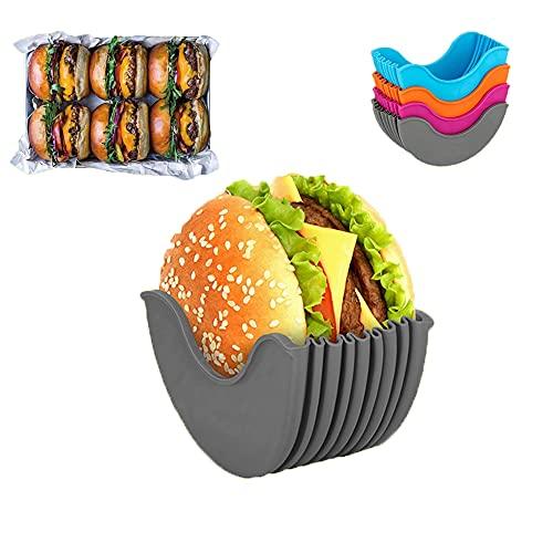 LAD 4 szt. chowany uchwyt na burgery, wielokrotnego użytku bułki do hamburgerów stałe pudełko, może być używany do rodzinnych obiadów, posiłków w samochodzie, na kempingu itp. Nie zawiera BPA i nadaje się do mycia w zmywarce