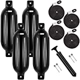 VIVOHOME Vinyl Ribbed Marine Boat Fenders for Bumper Shield Protection 6.5 Inch x 24 Inch Black Pack of 4