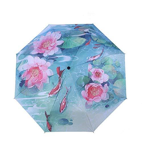 YNHNI Paraguas, Estilo Chino Impresos Paraguas, Paraguas, Tres Paraguas Plegables, protección de protección Solar de protección UV, Paraguas de Tendencia de Moda,Portátil (Color : A)