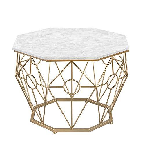 AI LI WEI Household Products/Furniture Nordic Sofá Mesa Lateral Sala de Estar Mesa de Snack-Tabla del Ordenador de Escritorio, Mesa de mármol Blanco del Marco y del Metal del Oro, 24 '', 17.7 ''