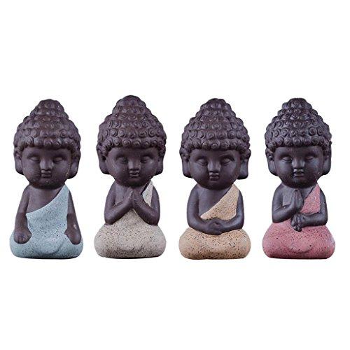 Gazechimp 4er-Set Mini Mönch Buddha Figuren Skulptur Statue Tee Tray Dekor Teezeremonie Zubehör