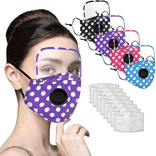 Facemask Reusable,Fashion Spot Printing Face C_over with Detachable Transparent Eyes Shield and Activated Carbon Filters Adult Face Health Protection (Mixed,4PC+8Filters)