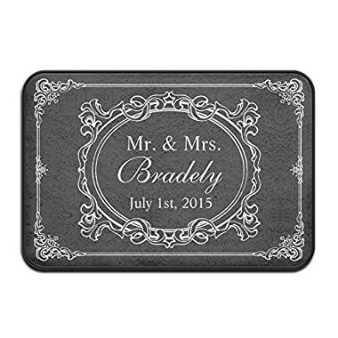 Classic Black White Mr Mrs Wedding Art Deco Frame Super Absorbent Anti-Slip Mat,Funny Doormat,Indoor/Outdoor Decor Rug Doormat 24x16 Inch Non-Slip Home Decor