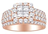 Princess & Round Cut White Natural Diamond Cluster Engagement Ring In 10k Rose Gold (2.00 cttw) Ring Size-10.5