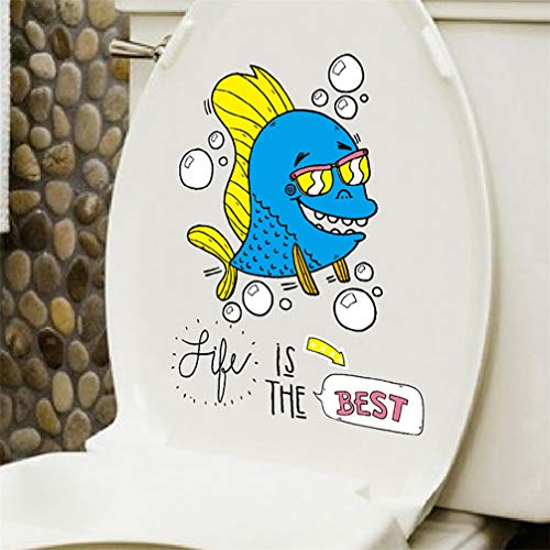 WANLING Wall Sticker Fish Life is The Best Cartoon Wall Decal Removable PVC Decoration for Home Toilet Lid Closestool Refrigerator Cabinet Decor