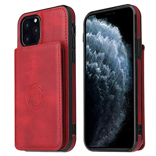 ZHTY Wallet Case Compatible with iPhone 12/12Pro(6.1'), Leather Case with Kickstand and Credit Card Holders, PU Cover for iPhone 12 Pro/12,Red SONG (Color : Red)