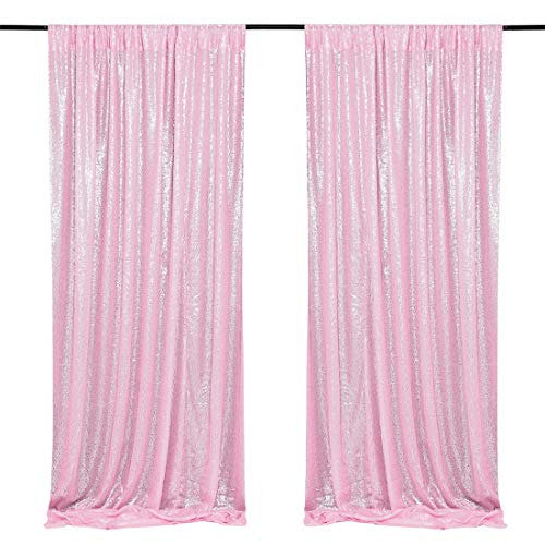 Pink Sequin Backdrop 2 Pieces 2FTx8FT Sequin Photo Backdrop Sequence Baby Shower Backdrop Curtain
