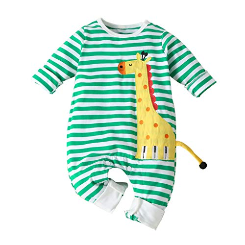Bébé à Manches Longues Cartoon Girafe Stripe Imprimer Siamois Escalade Jumpsuit Infant Bébés Garçons Filles Long Sleeve Cartoon Bande Dessinée Rayé Barboteuse Vêtements