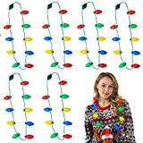 6 Pack Christmas LED Light up Bulb Necklace, Ugly Sweater Party Accessory, Xmas Light Necklace for Adults and Kids, Christmas Decoration, Party Favors and Supplies, Batteries Included, 9 Bulbs