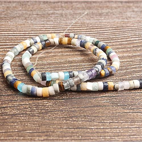 Joyería de moda 2x4 mm piedras naturales multicolores Cuentas espaciadoras DIY mujer pulsera collar pendiente y accesorios-Siete piedras, 2x4 mm 100 cuentas