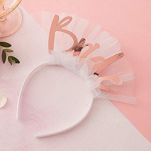 Haar-Reif/Haar-Schmuck mit Schleider Bride weiß & rosé-Gold/JGA-Party Junggesellinnen-Abschied Braut Kostüm Verkleidung Accessoire-s Frau-en