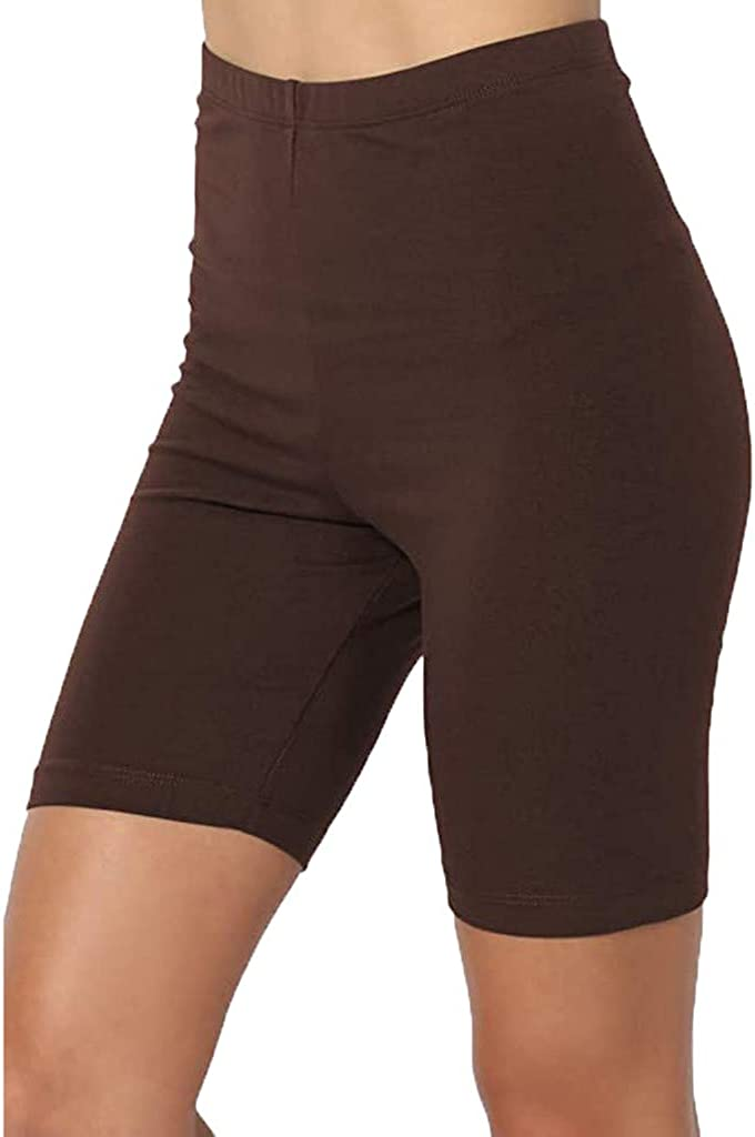 Yoga Shorts for Womens, F_Gotal Sport Yoga Solid Mid Thigh Stretch Comfy High Waist Active Short Leggings Running Sports