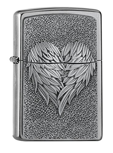 Zippo Heart with Feathers Accendino a Benzina, Ottone, Acciaio Inox, 1x 6x 6cm