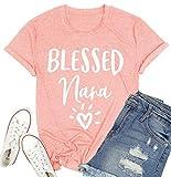 Blessed Nana Shirt Womens Grandma Heart Graphic Tees Mimi Grandmother Gift Shirt Nana Letter Print T-Shirt Tops (Pink, Large)