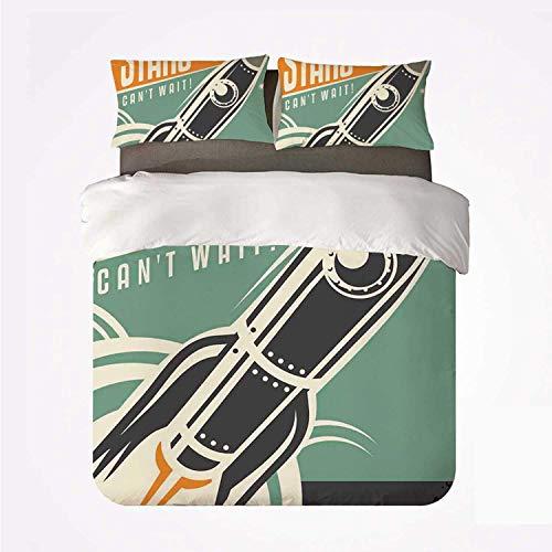 Miwaimao Bedding Bettwäsche-Set,Stars können es kaum erwarten Retro-Werbung mit...