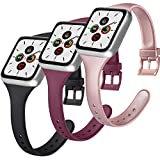 Funeng 3 Stück Armband kompatibel für Apple Watch 38 mm 40 mm 44 mm 42 mm, schlankes Sportarmband aus Silikon für iWatch Serie 6, 5, 4, 3, 2, 1 (38/40 mm S/M, A Schwarz/Weinrot/Rot/Rot/Rot)