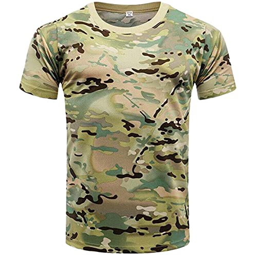 Shirt Hombre Verano Ajuste Regular Cuello Redondo Hombre Correr Shirt Moderno Estampado Manga Corta Músculo Shirt Básica Deportiva Camisa Secado Rápido Camuflaje T-Shirt H-008 XXL