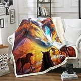 Loussiesd Manta de sherpa de caballo galopante de felpa 3D, manta de forro polar para sofá, cama, granja, brillante, vibrante, colorida, suave, decoración de habitación individual de 127 x 152 cm