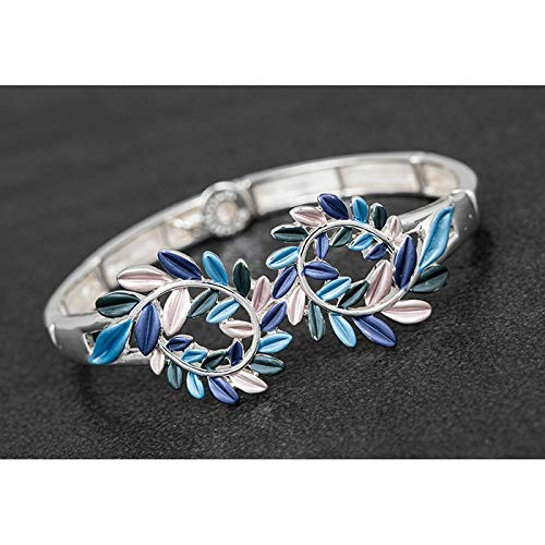 KWH Equilibrium Silver Plated Blau Lila Silber Curled Leaf Armband Armreif