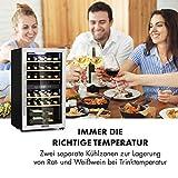 Klarstein Vinamour - Weinkühlschrank, Unterbau/Einbau, EEK A, Touch Control, freistehend, 2 Kühlzonen, Volumen: 80 Liter, 29 Flaschen, Kühltemperatur: 5-22 °C, schwarz - 9