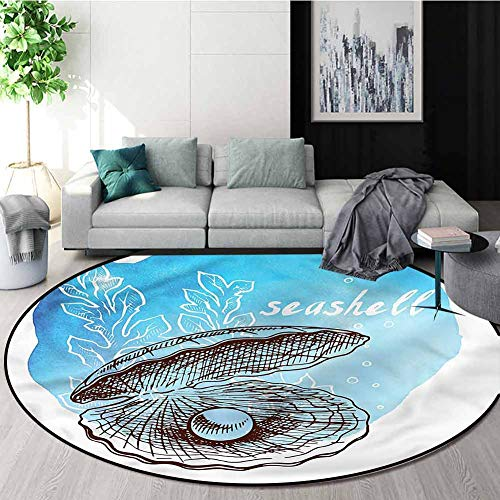 Fantastic Deal! RUGSMAT Pearls Modern Flannel Microfiber Non-Slip Machine Round Area Rug,Clam Seashe...