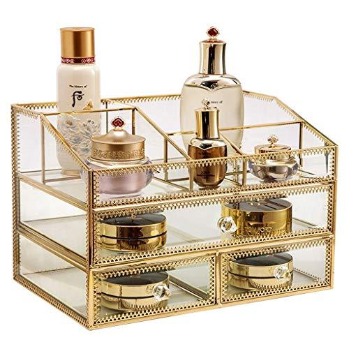 Glazen lade Cosmetische opbergdoos met gouden bekleding decoratieve kast decoratieve aanrecht