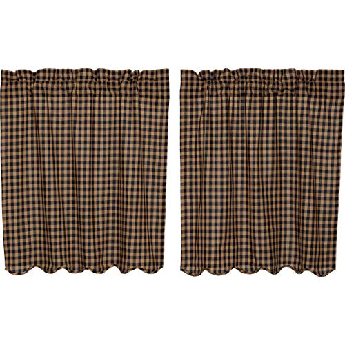 VHC Brands Classic Country Primitive Kitchen Window Curtains-Check Blue Scalloped Tier Pair, L36 x W36, Navy
