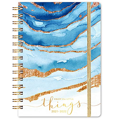 """2021-2022 Planner - Weekly & Monthly Planner with Monthly Tabs, July 2021 - June 2022, 6.3"""" x 8.4"""", Flexible Hardcover with Thick Paper, Elastic Closure & Inner Pocket"""