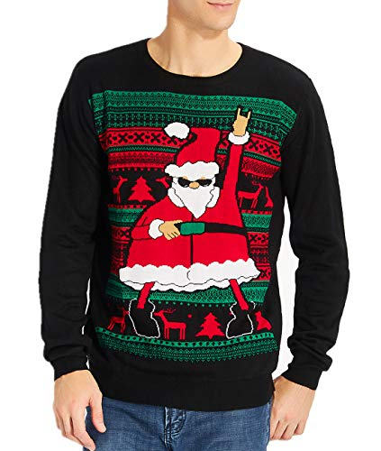 Idgreatim Mens Ugly Christmas Sweater Dace Santa Claus Long Sleeve Sweaters for Christmas Black XL