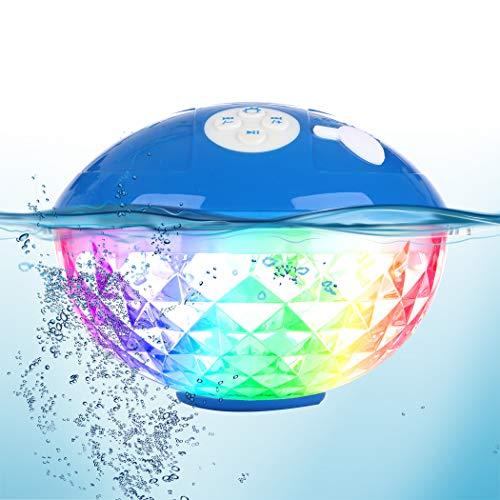 Tragbare Bluetooth Lautsprecher Farblicht, Schwimmend Dusche Lautsprecher Bluetooth4.2 Kabelloser Lautsprecher IPX7 Wasserdichtes, Eingebautem Mikrofon Kristallklare Stereo Musikbox