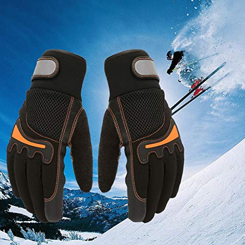 CapsA Men Women Winter Insulated Ski Gloves Touch Screen Waterproof Windproof Snow Cycling Sport Warm Gloves Driving Water-Splashing Anti-Skid Outdoor Gloves (Black, M)