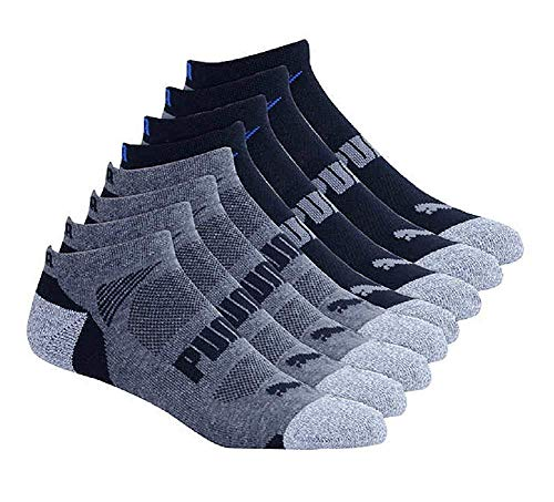 Puma Mens No show Sport Socks, Moisture Control, Arch Support (8 Pair) (Regular Shoe Size: 6-12, Black)